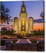 Brigham City Temple Moon N Stars Canvas Print