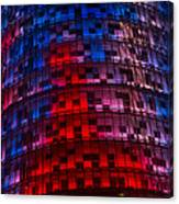Bright Blue Red And Pink Illumination - Agbar Tower Barcelona Canvas Print