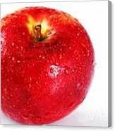 Bright Red Apple With Water Drops Canvas Print