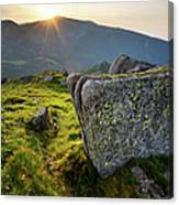 Bright Sunset Landscape In Mountains Canvas Print