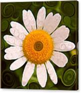 Bright Yellow And White Daisy Flower Abstract Canvas Print