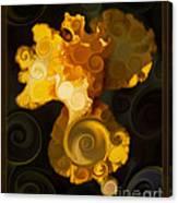 Bright Yellow Bearded Iris Flower Abstract Canvas Print