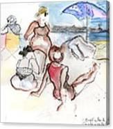 Brighton Beach On A Windy Day Canvas Print