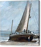Brighton Beach With Fishing Boats Canvas Print