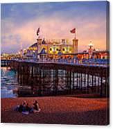 Brighton's Palace Pier At Dusk Canvas Print