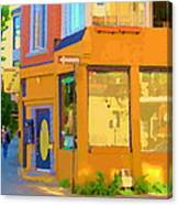 Bring Your Own Wine Restaurant Vents Du Sud Rue Roy Corner French Cafe Street Scene Carole Spandau Canvas Print