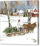 Bringing Home The Tree Canvas Print