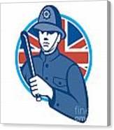 British Bobby Policeman Truncheon Flag Canvas Print