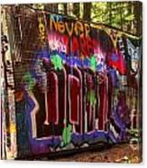 British Columbia Train Wreck Graffiti Canvas Print