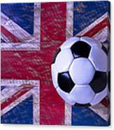 British Flag And Soccer Ball Canvas Print