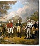 British General John Burgoyne Surrenders At Saratoga Canvas Print