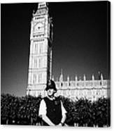 british metropolitan police office guarding the houses of parliament London England UK Canvas Print