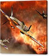 British Supermarine Spitfires Bursting Canvas Print