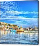 Brixham Devon England Uk English Harbour Summer Day With Blue Sky Traditional Coast Scene Canvas Print