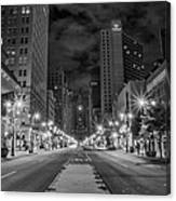 Broad Street At Night In Black And White Canvas Print