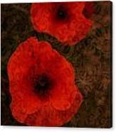 Brocade Textured Poppies Canvas Print