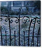Broken Iron Fence By Old House Canvas Print