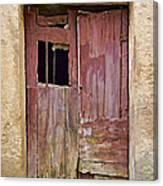 Broken Red Wood Door Canvas Print