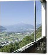 Broken Windows With Panoramic View Canvas Print