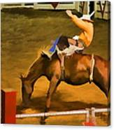 Bronc Bucking Out The Gate Canvas Print