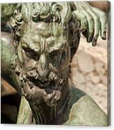 Bronze Satyr In The Fountain Of Neptune Of Florence Canvas Print