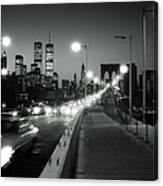 Brooklyn Bridge And Manhattan Skyline At Dusk 1980s Canvas Print