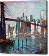 Brooklyn Bridge And Twin Towers Canvas Print