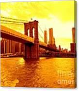 Brooklyn Bridge In Yellow Canvas Print