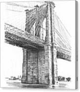 Brooklyn Bridge Pencil Drawing Canvas Print