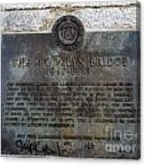 Brooklyn Bridge Plaque Canvas Print