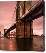 Brooklyn Bridge - Red Morning Canvas Print