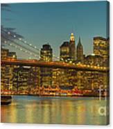 Brooklyn Bridge Twilight Panoramic Canvas Print