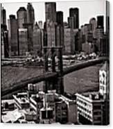 Brooklyn Bridge View In Sepia Canvas Print