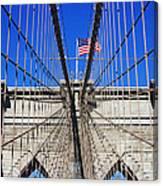 Brooklyn Bridge With American Flag Canvas Print