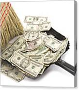 Broom Sweeping Up American Currency Canvas Print