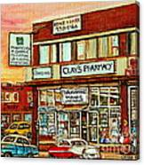 Brown Derby Van Horne Shopping Center Clay's Pharmacy Montreal Paintings City Scenes Carole Spandau Canvas Print