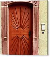 Brown Door Exterior Entrance Canvas Print