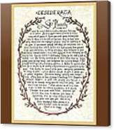 Brown Frame Color Wreath Desiderata Poem Canvas Print
