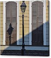 Brown Shutter Doors And Street Lamp - New Orleans Canvas Print