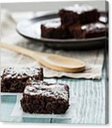 Brownies With A Wood Spoon Kitchen Art Canvas Print