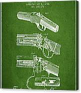 Browning Rifle Patent Drawing From 1921 - Green Canvas Print