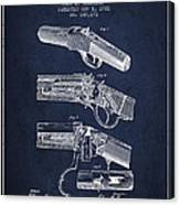 Browning Rifle Patent Drawing From 1921 - Navy Blue Canvas Print