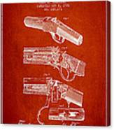 Browning Rifle Patent Drawing From 1921 - Red Canvas Print