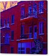 Brownstones In Winter 6 Canvas Print
