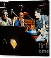 Bruce Springsteen Billy Joel And Paul Schaffer Canvas Print
