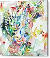 Bruce Springsteen Playing The Guitar Watercolor Portrait Canvas Print