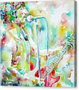 Bruce Springsteen Playing The Guitar Watercolor Portrait.1 Canvas Print