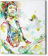 Bruce Springsteen Playing The Guitar Watercolor Portrait.2 Canvas Print