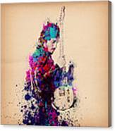 Bruce Springsteen Splats And Guitar Canvas Print