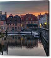 Bruges Canal Dawn Canvas Print